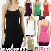Plain Basic SOLID Woman Tank Top Camisole Cami Adjustable LONG Spaghetti Strap