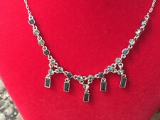 Givenchy Blue Crystal Fringe Necklace And Earrings Set
