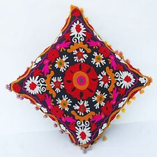 Cushion Cover Indian Vintage Suzani Pillow Cases Woolen Embroidered Decorative