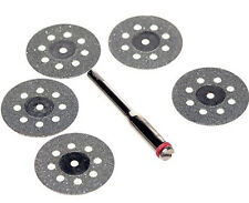 "6Pc Diamond Cut-off Wheels 1/8"" Shank GLASS ROCK LAPIDARY DISC SAW Grit 200"