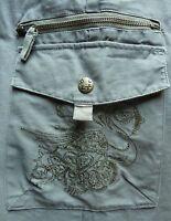 ROXY pantalon femme taille 28 US vert 100% coton poche brodée