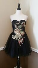 Modcloth Dress 16 Chi Chi Peacock Black Formal Strapless Ballerina Perfect Poise