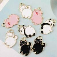 10Pcs Enamel Alloy Pig Cat Panda Charms Pendant DIY Jewelry Findings Craft