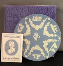 Vintage Wedgwood Blue Jasperware Collector's Society Floral Girl Trophy Plate