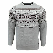 Soul Star Men's Venzy Nordic Knitted Jumper Light Grey Large / Chest 38-40 Inch