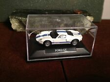 FORD MUSTANG GT DIE CAST CAR SMALL SCALE IN PLASTIC DISPLAY CASE WHITE BLUE