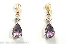 9ct Gold Amethyst and CZ Teardrop Dangly earrings Gift Boxed Made in UK