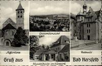 Bad Hersfeld Mehrbild Grußkarte ~1950/60 Rathaus Stiftsruine Wandelhalle u.a.