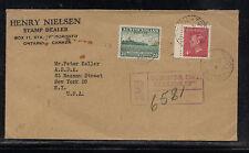 Canada  registered cover to US  Henry Nielsen  stamp dealer 1952      AT0715
