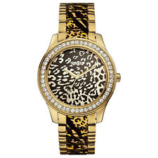 NEW GUESS WATCH for Women * Gold Tone * Animal Print w/Crystals * U0465L1