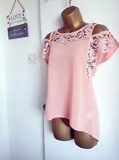 Sheer Beachwear Lace Floral  Cold Shoulders Top Shirt Casual Hi low Beach Blouse
