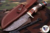 CUSTOM HAND FORGED DAMASCUS STEEL HUNTING KNIFE W/ STAG HANDLE - Q 522