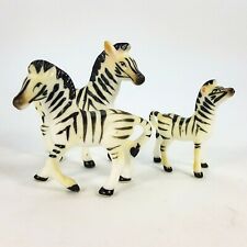 Vintage Miniature Porcelain Figurine Set of 3 Zebra Family Safari Animal
