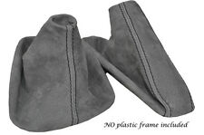 BLACK STITCH MID GREY SUEDE MANUAL GAITER SET FITS BMW 5 SERIES E39 1996-2004