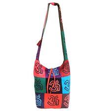 Hippy Sling Shoulder Bag - Om Au Sign - Pink Blue Purple Cotton Festival Student