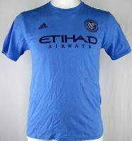 New York City FC NYCFC Adidas Men's Large Light Blue T-Shirt MLS David Villa #7