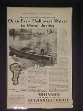 OLD VINTAGE ~JOHNSON FISHING BOAT OUTBOARD MOTOR ART PRINT AD~ ORIG ANTIQUE 1930