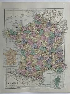 1882 France Hand Coloured Original Antique Map by Edward Stanford