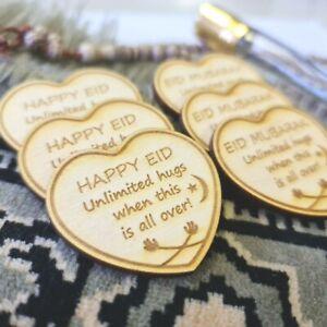 Ramadan Eid Mubarak Wooden Heart Hug Token Islam Mosque Party Plaque Decoration