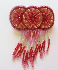 Spirit of Nature Hair Clip Seed Beads pink red silver dangling fringe