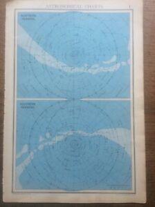 "1942 Vintage John Bartholomew Atlas Map 14"" Astronomical Charts N & S Heavens"