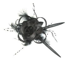 Flor Negra Lazos De Diadema Peineta Para Ascot, Carreras, Bodas, Mujer