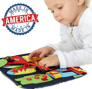 USA Busy Board Montessori Toys Alphabet Sensory Toys Basic Dress Learning Skill