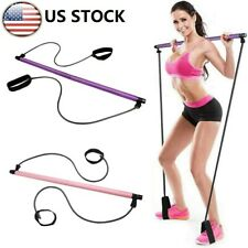 Portable Yoga Pilates Bar kit W/Resistance Band Expand Exercise Stick Gym Toning