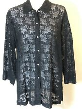 Uniform John Paul Richard Womens Sz L Blouse Black Beach Cover Up Mesh Lace