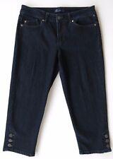 Women's AK Anne Klein Dark Blue Stretch Denim Capri Jeans 10 29  X 22