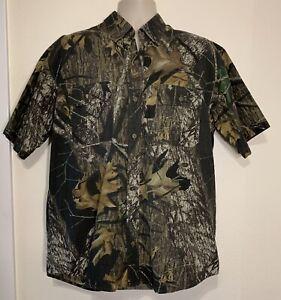 Field Staff by Mossy Oak mens camo short sleeve button up shirt w/pockets size L