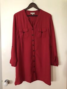Autograph Red Button up shirt Blouse Size 20 Plus Size Curves