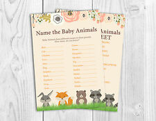Baby Shower Game, Name the Baby Animals, Woodland Theme, Boy, Girl, Neutral.