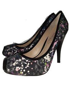 Rachel Roy Shoes Size 9M Womans Black Multi Color Peep Toe Pump