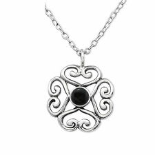 925 Sterling Silver Genuine Black Onyx necklace pendant  gift 13mm x 13mm