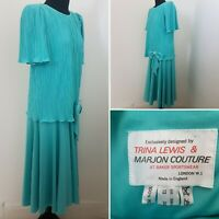 Ladies VINTAGE 70/80's Green Evening Dress Sz 12 Drop Waist Deco Crinkle Bow