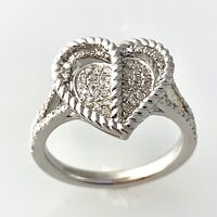 Natural Diamond Heart Ring in Sterling Silver Sz 7.25  #104