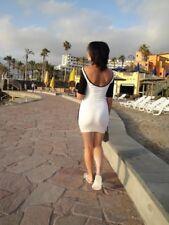 ASOS Contrast Mini Dress 3/4 Sleeve Black Bodycon Size 8 High Neck Scoop Back