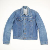 Vtg Wrangler No Fault Denim Trucker Jacket 70s 80s USA Made Blue Jean sz SMALL?