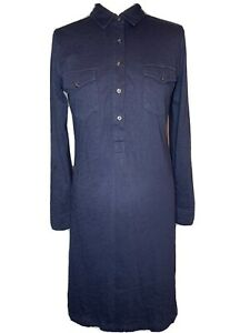 The White Company White Label Ladies Blue Cotton Jersey Shirt Dress Size 12 (k4)