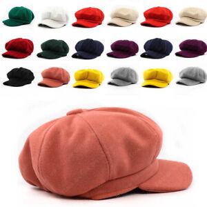 Quality Ladies Womens 8 Panel Wool Baker Boy News Boy Vibrant Colour Cap Hat New
