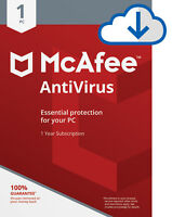 Download McAfee Antivirus PLUS 2019 4 Year WINDOWS 1 PC Security Subscription