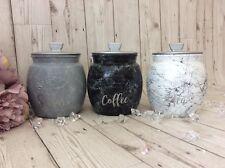 Glitter Effect Kilner X3  Tea Coffee & Sugar Canisters Set in White Grey Black