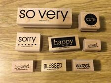 "Stampin' Up! Set of 8 Wooden Rubber Stamps ""So Very"" Words Happy Blessed Cute"