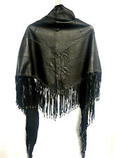 RRP $600 CAMILLA FRANKS LEATHER SCARF WITH FRINGING BLACK .