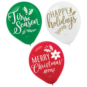 """Green, Red & White Christmas Balloons 15ct-12"""" Round-NEW"""