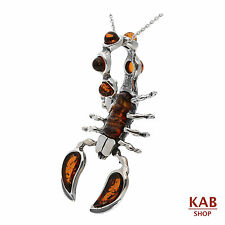 """COGNAC BALTIC AMBER STERLING SILVER 925 SCORPION PENDANT+18""""chain, KAB-269"""