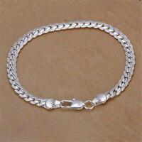 Unisex Men Women 925 Solid Silver 5MM Snake Chain Bracelet Bangle Jewelry Gift