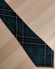 Scottish pure new wool tie plaid green black & white tartan