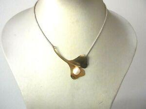 Schönes Collier Silber 925 Perle Ginko Blatt